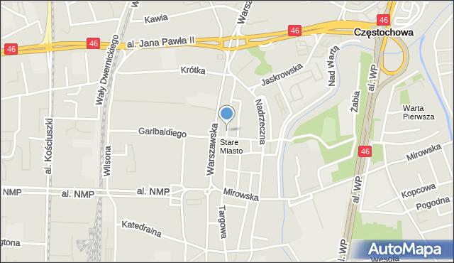 Częstochowa, Senatorska, mapa Częstochowy