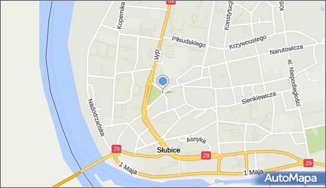 Słubice, Seelowska, mapa Słubice