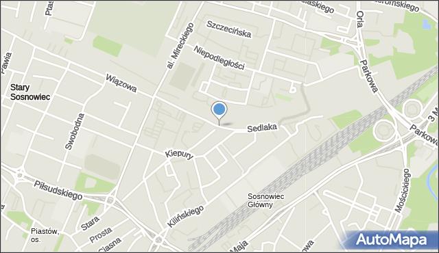 Sosnowiec, Sedlaka Włodzimierza, ks., mapa Sosnowca
