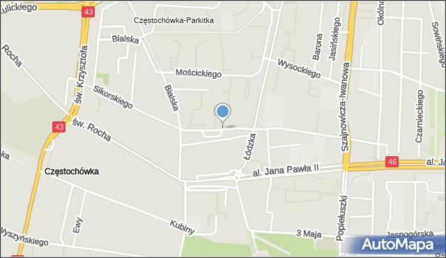Częstochowa, Sikorskiego Władysława, gen., mapa Częstochowy