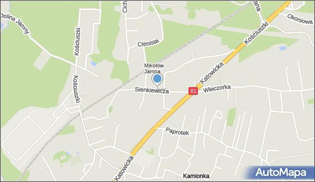 Mikołów, Sienkiewicza Henryka, mapa Mikołów
