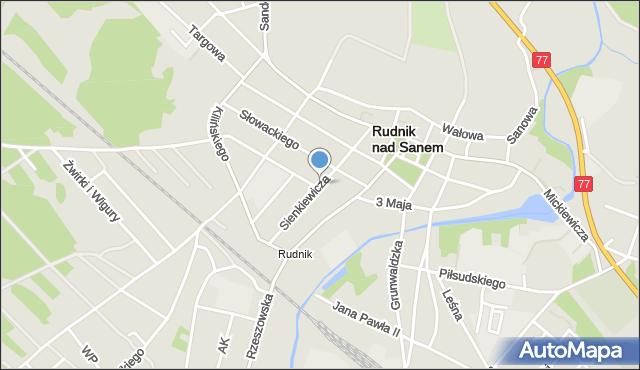 Rudnik nad Sanem, Sienkiewicza Henryka, mapa Rudnik nad Sanem