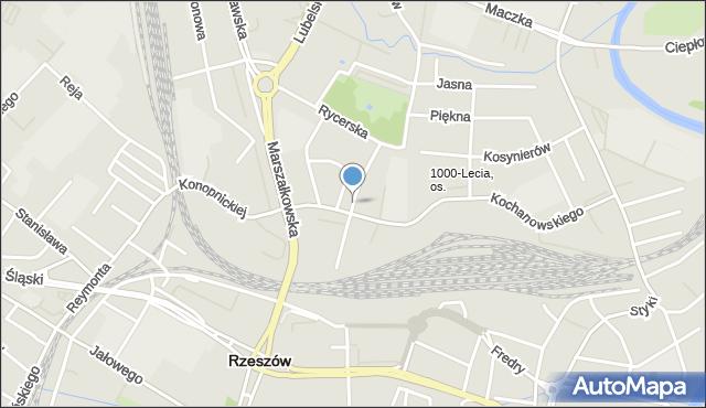 Rzeszów, Sienkiewicza Henryka, mapa Rzeszów