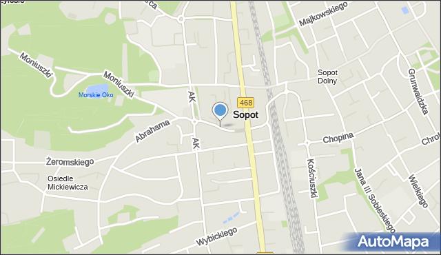 Sopot, Sikorskiego Władysława, gen., mapa Sopotu