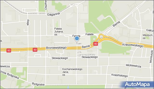 Toruń, Sienkiewicza Henryka, mapa Torunia
