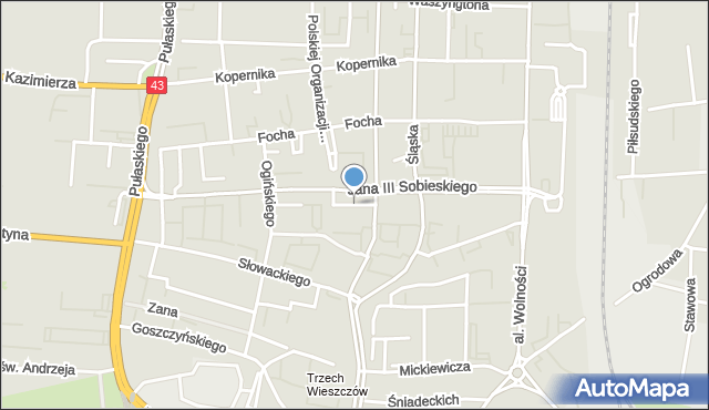 Częstochowa, Skwer Sybiraków, mapa Częstochowy