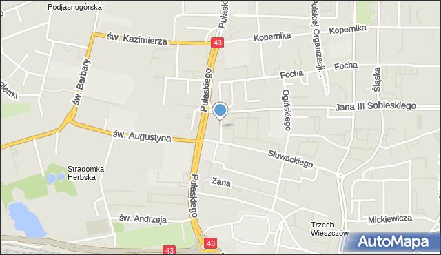 Częstochowa, Skwer Sokołów, mapa Częstochowy