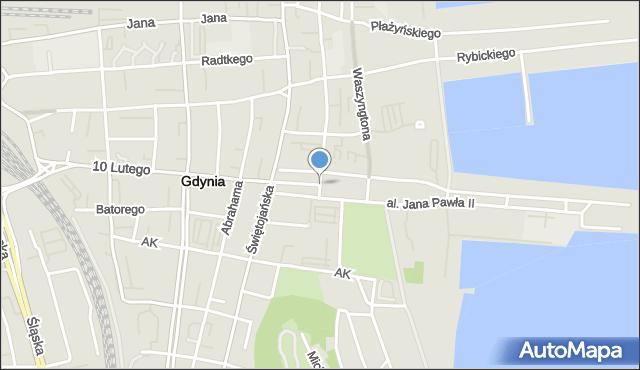 Gdynia, Skwer Kościuszki Tadeusza, gen., mapa Gdyni
