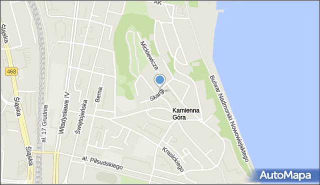 Gdynia, Skargi Piotra, ks., mapa Gdyni