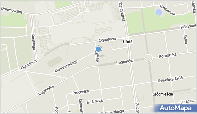 Łódź, Skwer Gdański, mapa Łodzi