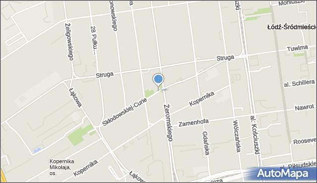 Łódź, Skłodowskiej-Curie Marii, mapa Łodzi