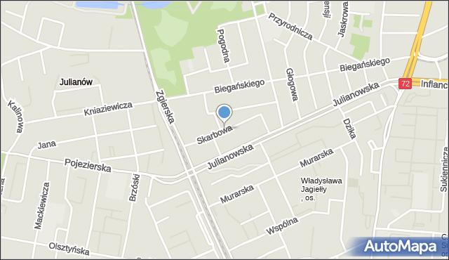 Łódź, Skarbowa, mapa Łodzi
