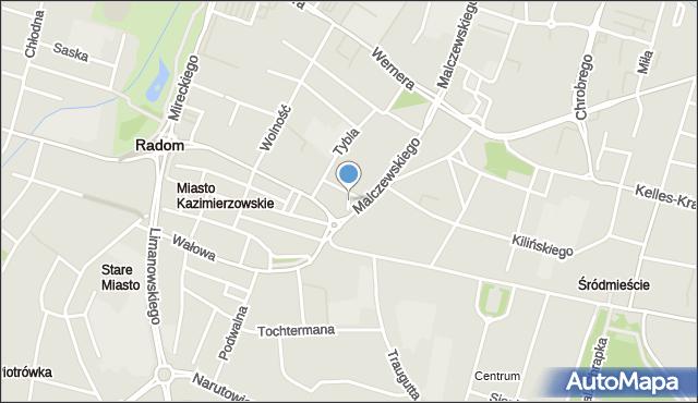 Radom, Skwer Maryi Matki Życia, mapa Radomia