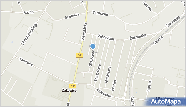 Radom, Skarbowa, mapa Radomia