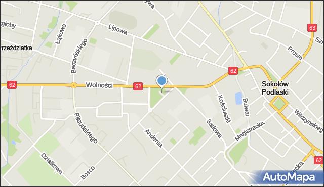 Sokołów Podlaski, Skwer Mickiewicza Adama, mapa Sokołów Podlaski