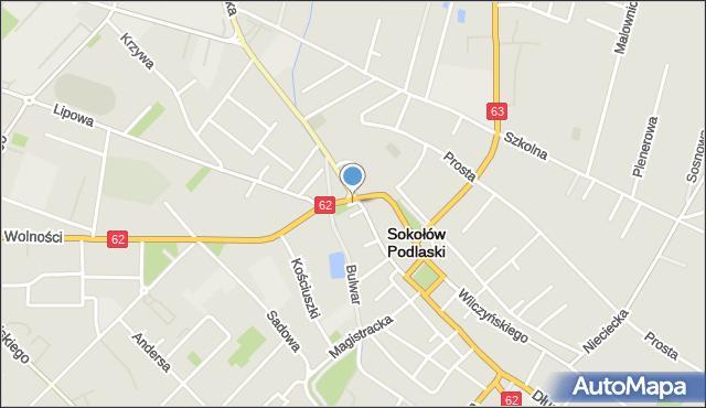 Sokołów Podlaski, Skwer Stanisława Pielasy, ks., mapa Sokołów Podlaski