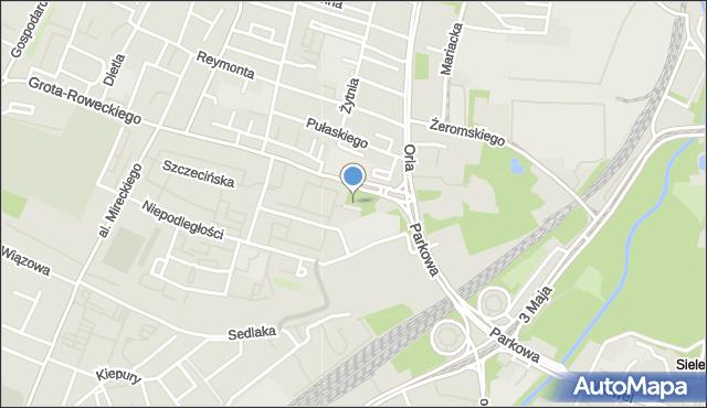 Sosnowiec, Skwer Strzeleckiego Jana Antoniego, mapa Sosnowca