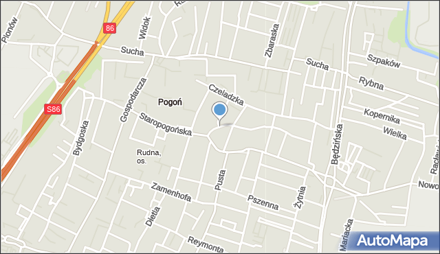 Sosnowiec, Skośna, mapa Sosnowca