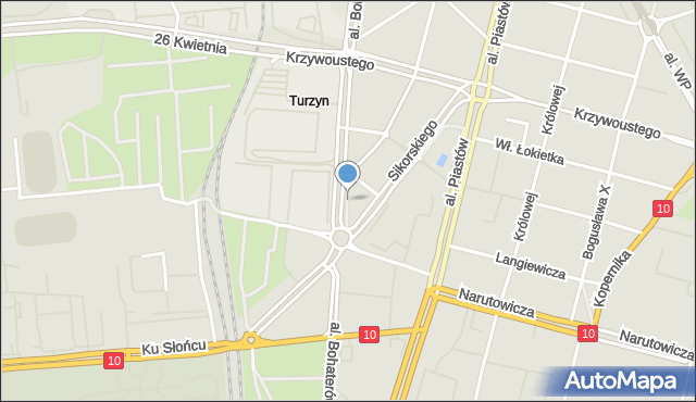 Szczecin, Skwer Doliwo-Dobrowolskiego Michała, mapa Szczecina