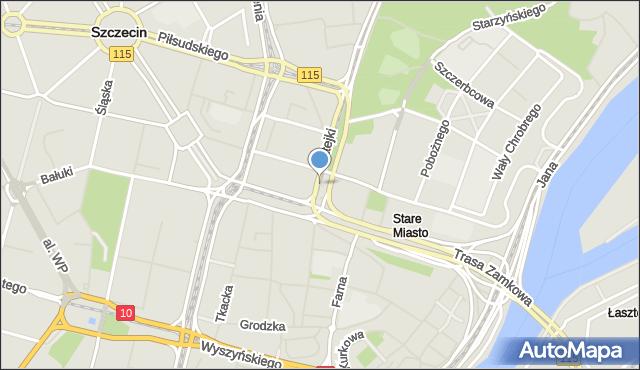 Szczecin, Skwer Kaczyńskiego Lecha, prezydenta RP, mapa Szczecina
