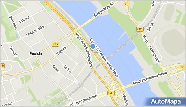 Warszawa, Skwer Kahla Tadeusza, mapa Warszawy