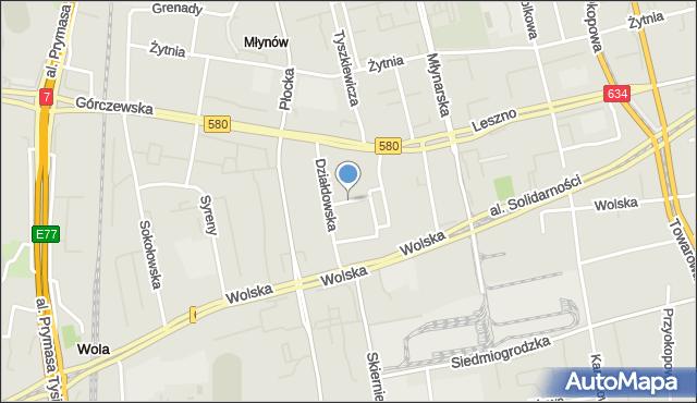 Warszawa, Skwer Lurie Wandy, mapa Warszawy