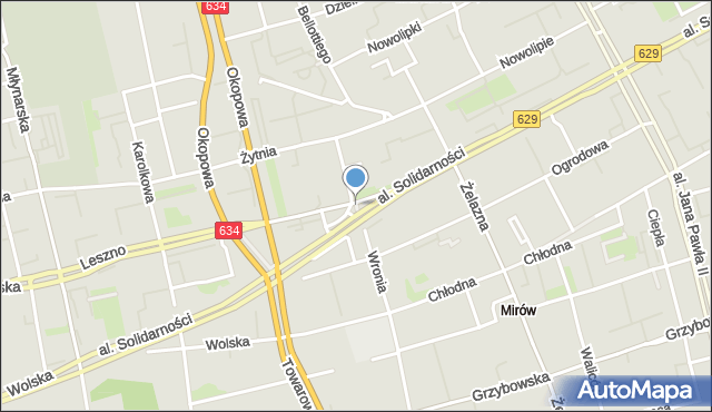 Warszawa, Skwer Pamięci, mapa Warszawy