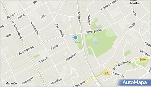 Warszawa, Skwer Więźniów Politycznych Stalinizmu, mapa Warszawy