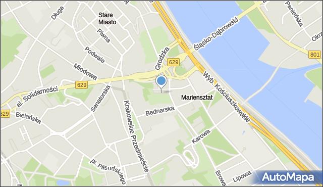 Warszawa, Skwer Orgelbranda Samuela, mapa Warszawy
