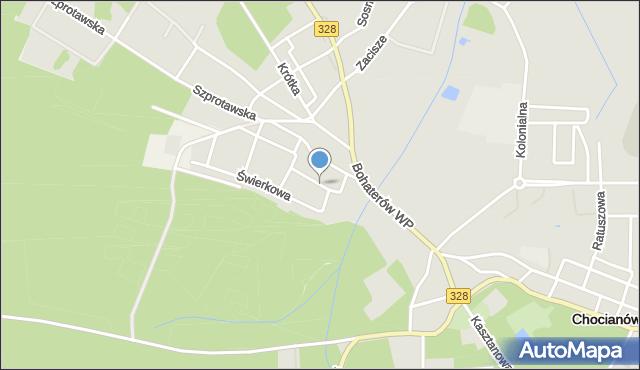Chocianów, Słoneczna, mapa Chocianów