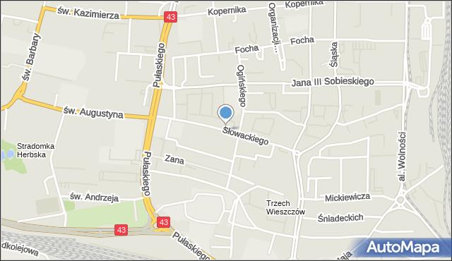 Częstochowa, Słowackiego Juliusza, mapa Częstochowy