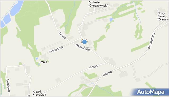 Gierałtowice gmina Wieprz, Słoneczna, mapa Gierałtowice gmina Wieprz