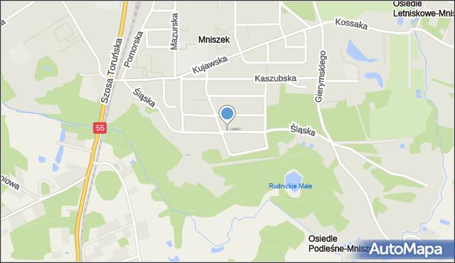 Grudziądz, Śląska, mapa Grudziądza