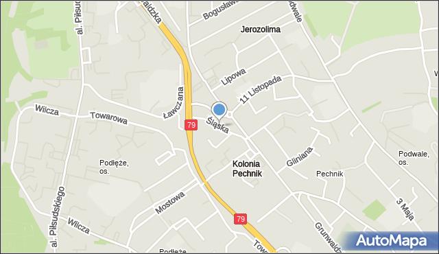 Jaworzno, Śląska, mapa Jaworzno