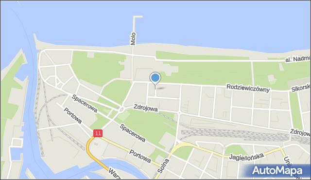 Kołobrzeg, Słowackiego Juliusza, mapa Kołobrzegu