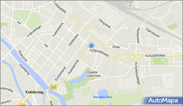 Kołobrzeg, Słowińców, mapa Kołobrzegu