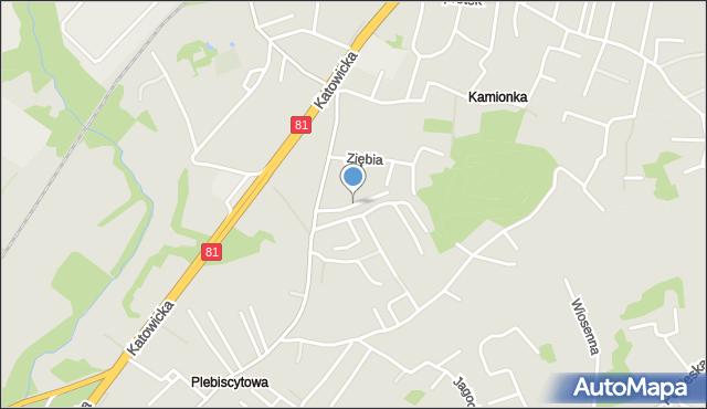 Mikołów, Słowicza, mapa Mikołów