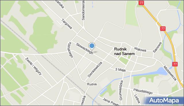 Rudnik nad Sanem, Słowackiego Juliusza, mapa Rudnik nad Sanem