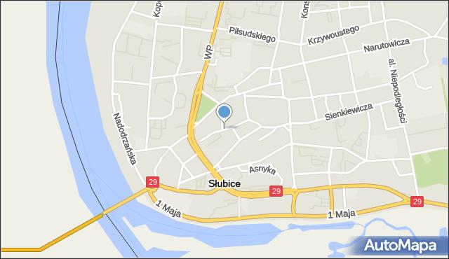 Słubice, Słowackiego Juliusza, mapa Słubice