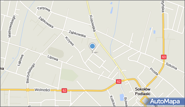 Sokołów Podlaski, Słoneczna, mapa Sokołów Podlaski