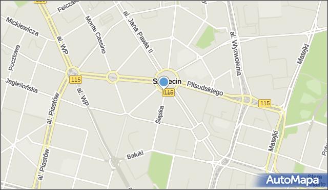 Szczecin, Śląska, mapa Szczecina