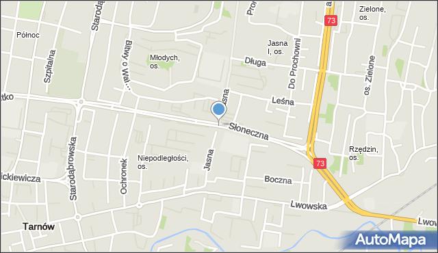 Tarnów, Słoneczna, mapa Tarnów