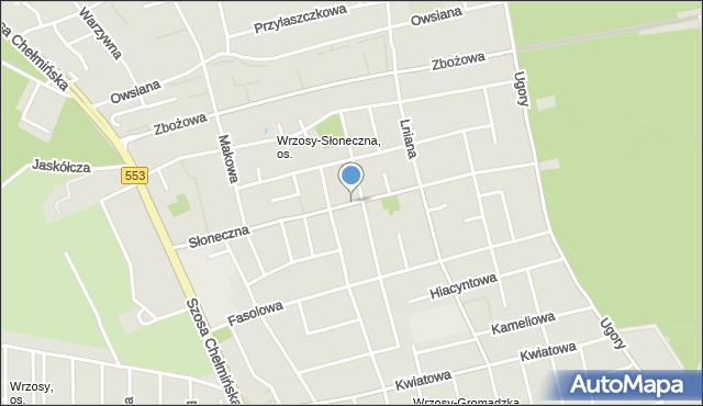 Toruń, Słoneczna, mapa Torunia