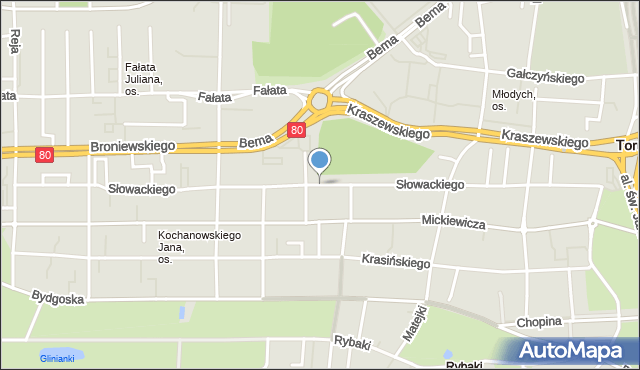 Toruń, Słowackiego Juliusza, mapa Torunia