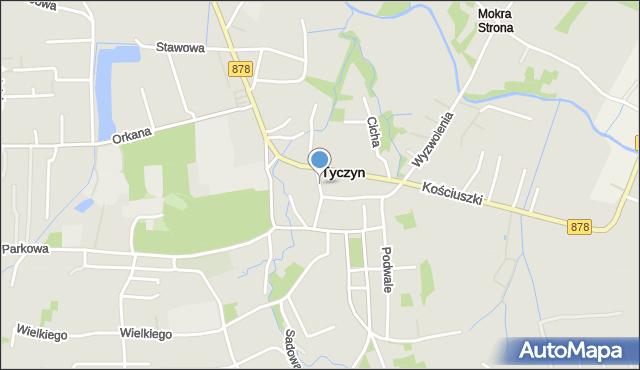 Tyczyn powiat rzeszowski, Słowackiego Juliusza, mapa Tyczyn powiat rzeszowski