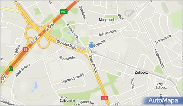 Warszawa, Słowackiego Juliusza, mapa Warszawy