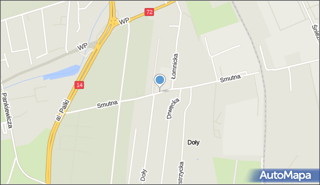 Łódź, Smutna, mapa Łodzi