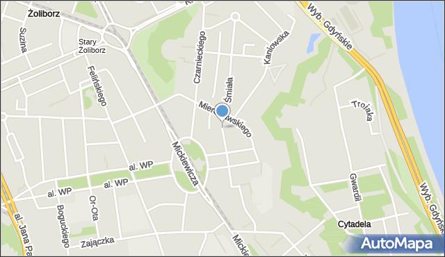 Warszawa, Śmiała, mapa Warszawy