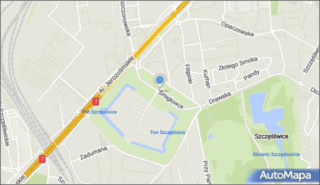 Warszawa, Śmigłowca, mapa Warszawy