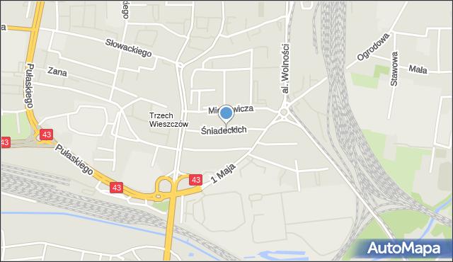 Częstochowa, Śniadeckich, mapa Częstochowy